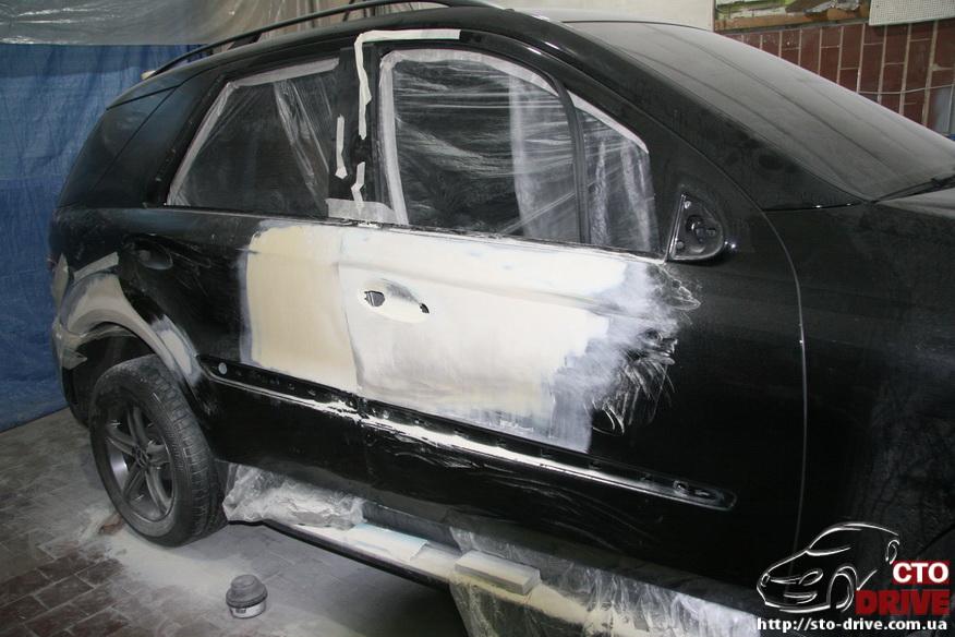 rihtovka pokraska dverey i zadnego kryila mercedes ml350 7427 Рихтовка, покраска дверей и заднего крыла   Mercedes ML350